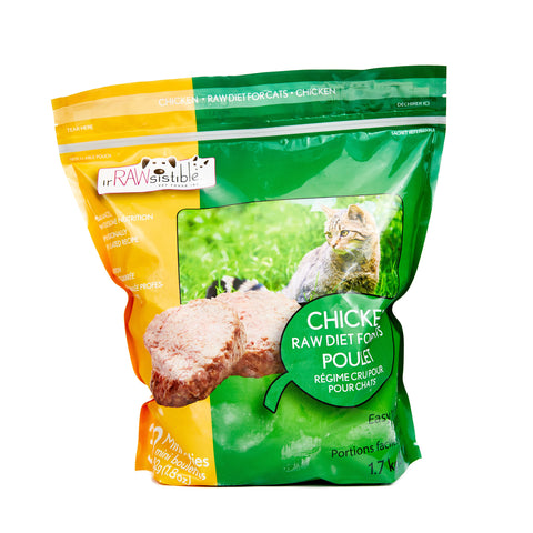 Irawsistible Chicken for cats 32 (new) mini patties (Min 2 bag purchase or with another item) - Naturally Urban Pet Food Delivery