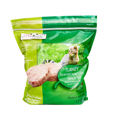IrRAWsistible Turkey for cats 32 mini patties (Min 2 bag purchase or with another item) - Naturally Urban Pet Food Delivery