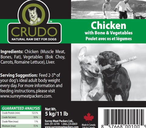 Crudo Chicken with Bone & Vegetables  20 or 40 x 1.1 Lb tubes