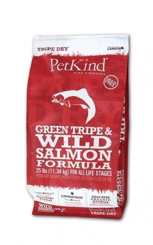 Petkind Tripe Dry Green Tripe and Wild Pacific Salmon Formula 25 lb bag