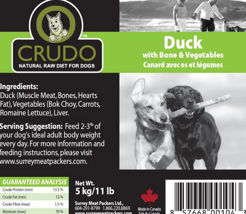 Crudo Duck with Bone & Vegetables  500 gram tubes - Naturally Urban Pet Food Delivery