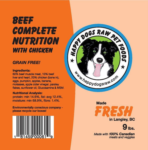 Happy Dogs Beef Complete Nutrition Blend - Naturally Urban Pet Food Delivery