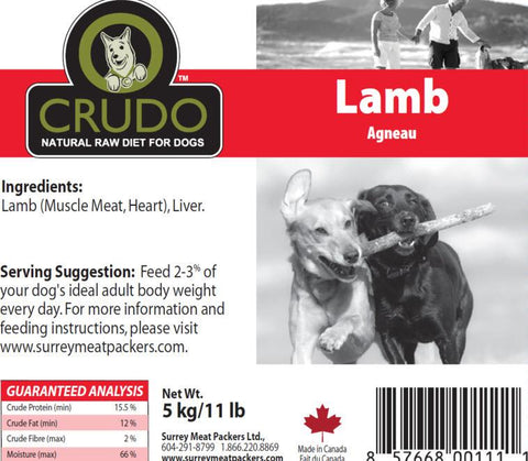 Crudo Plain Lamb  44 Lb Box