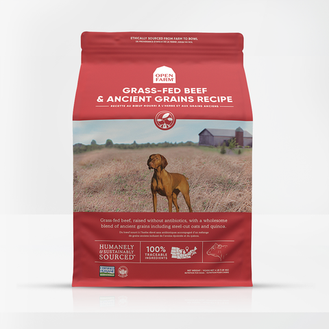 Open Farm Grass-Fed Beef & Ancient Grains Dry Dog Food 22 lbs.