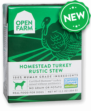 Open Farm Harvest Homestead Turkey Rustic Stew for Dogs 12 x 12.5 oz Tetra Packs