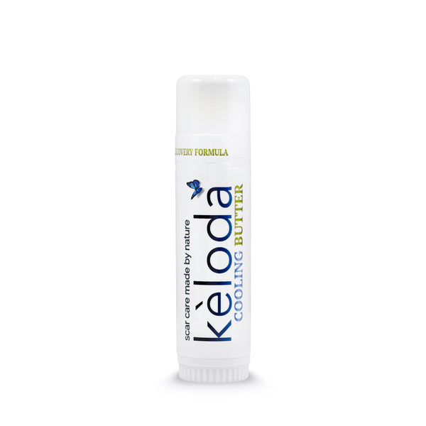 Keloda Cooling Scar Care Butter: scar and keloid removal balm for itching, painful surgical scars and keloids, burn, stretch marks, acne with anti scar Cocoa & Shea cream Butter, Coconut & Jojoba Oil - Bruizex