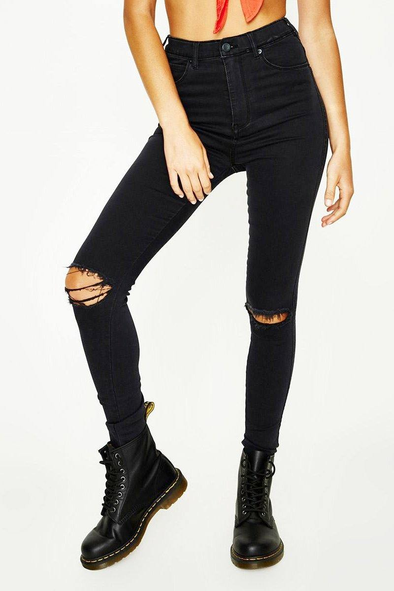 BLACK High Waisted Skinny Distressed Jeans
