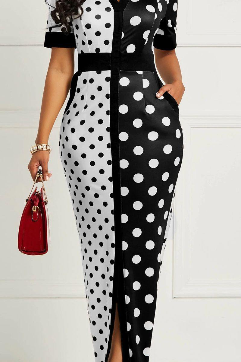 Polka Dot White Maxi Dress