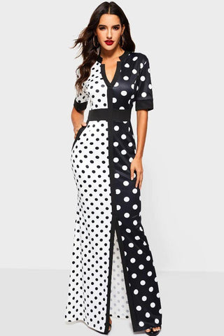 Black Double Layer Hem Swiss Dot Dress