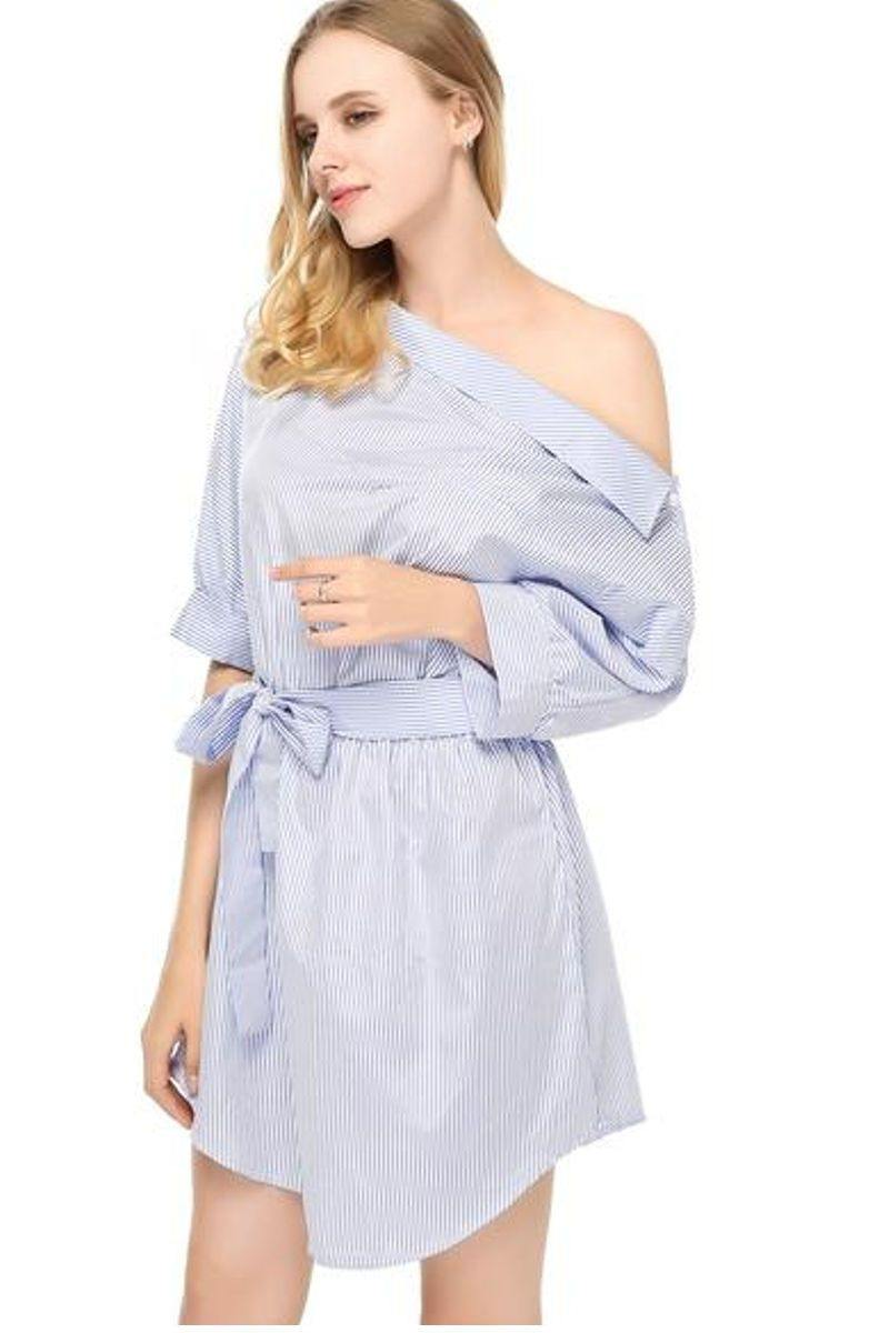 One Shoulder Blue Striped  Belted Dress - Luv Fashion