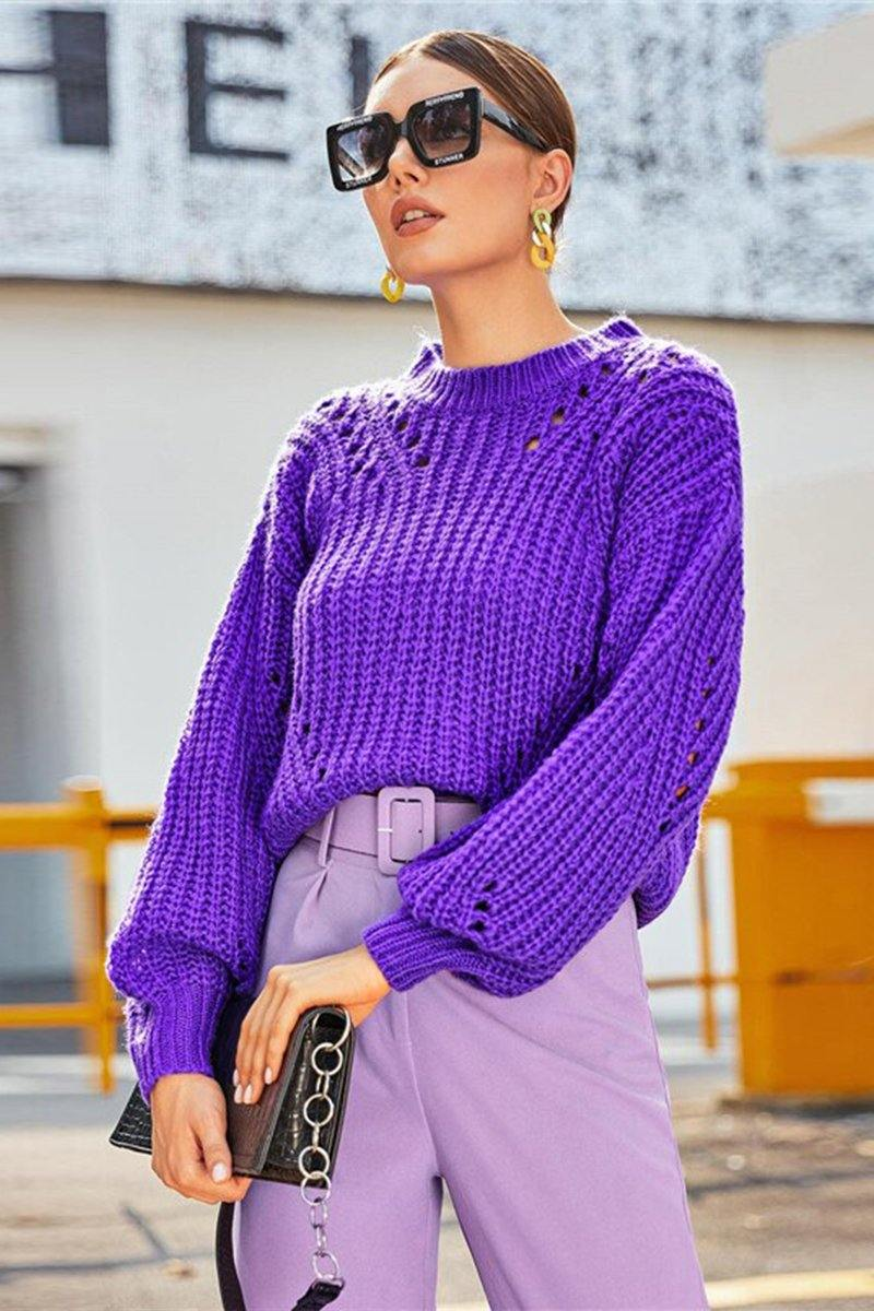 Purple Pointelle Chunky Knit Sweater - Luv Fashion