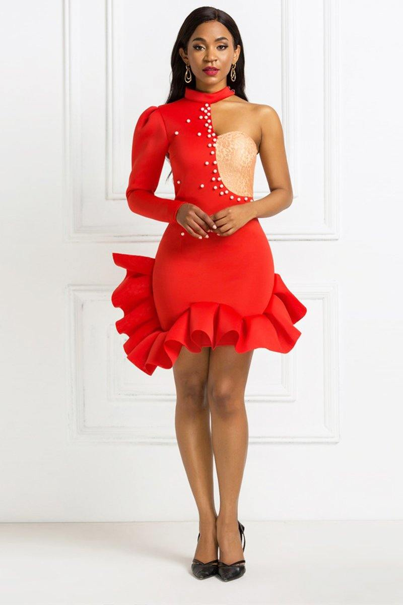 Ruby Shoulder Slope Ruffle Dress