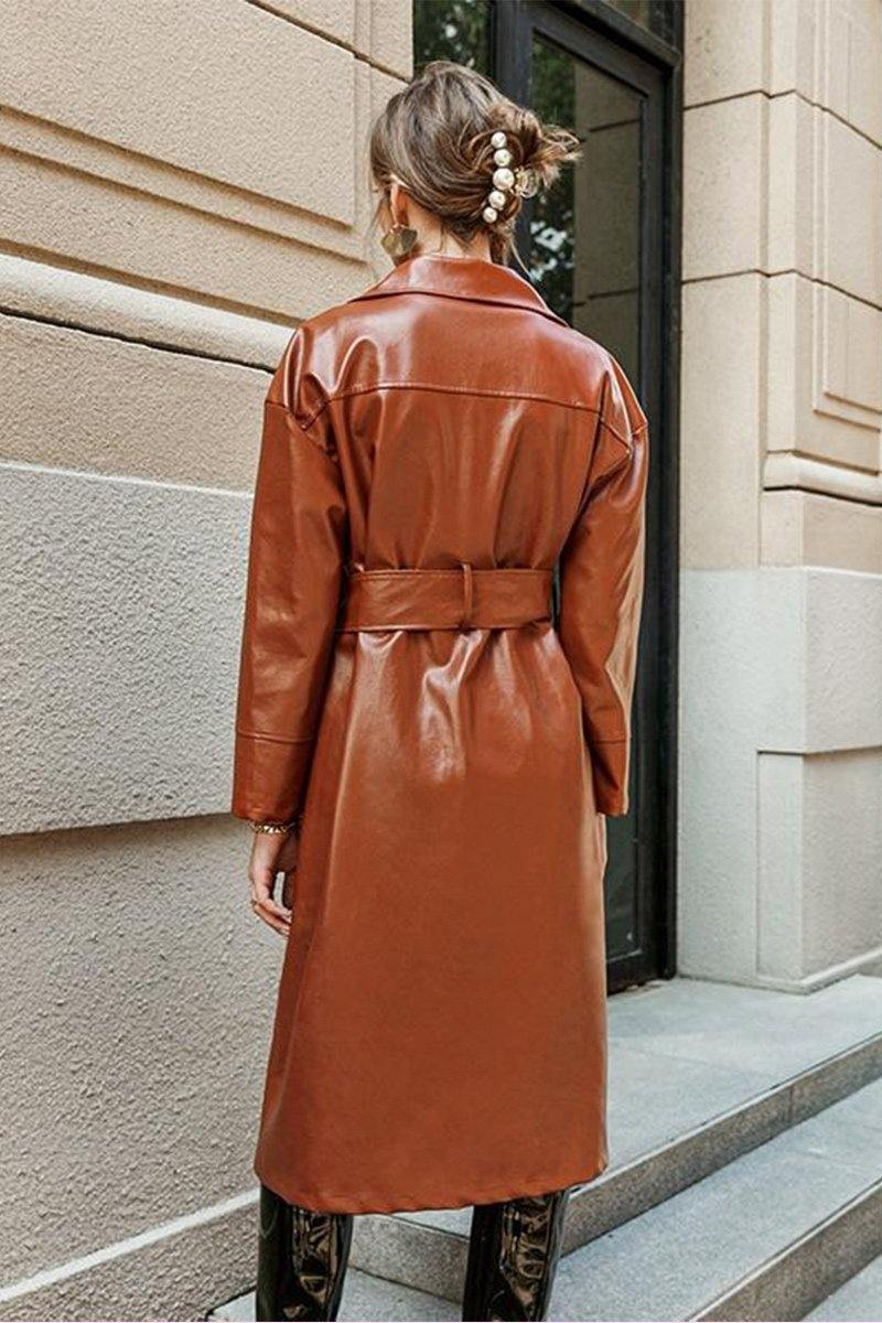 Brielle Leather Coat with belt