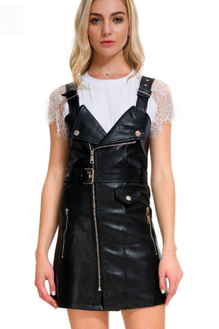 Black PU Leather Biker Belted Skirt