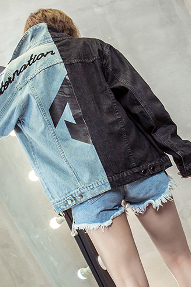 Blue and Black Half Side Denim Jacket