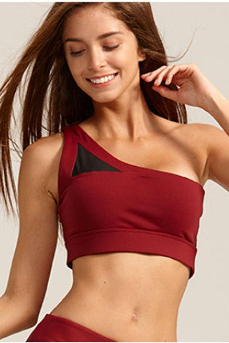 Red One Shoulder Fitness Crop Top