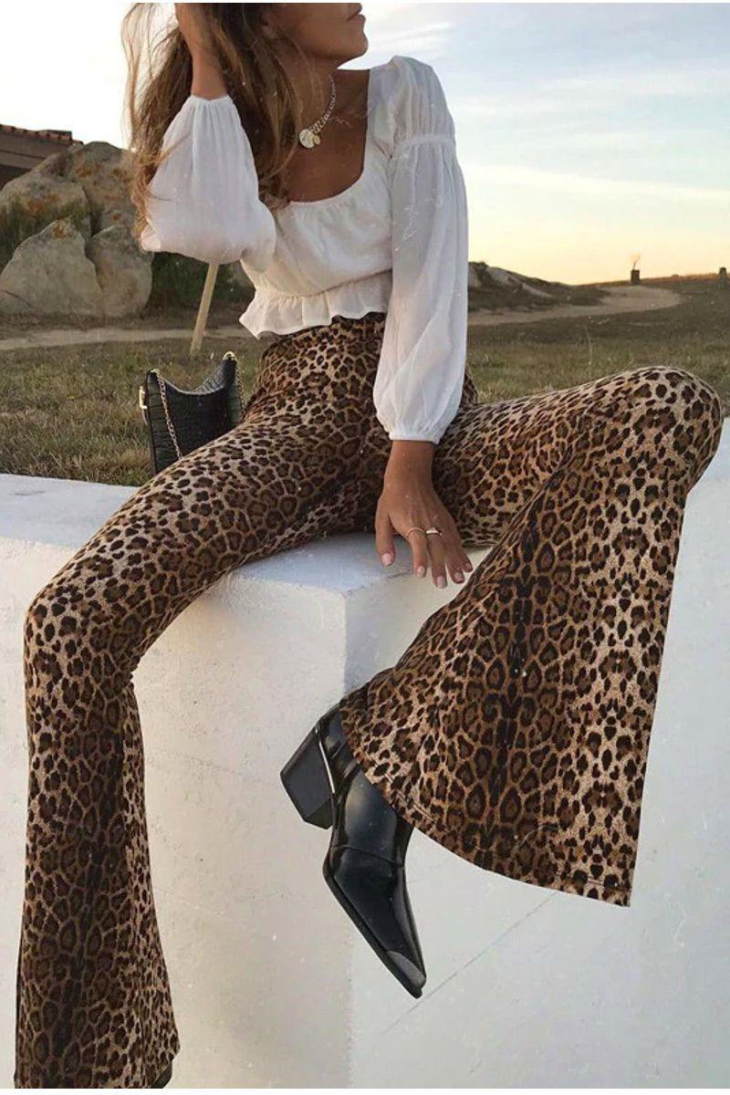 Leopard Print High Waisted Flare Pants