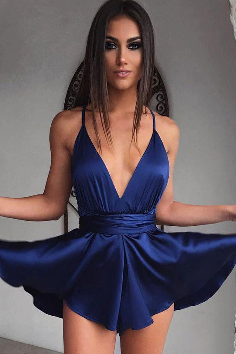 Satin Pleated Dress - blue