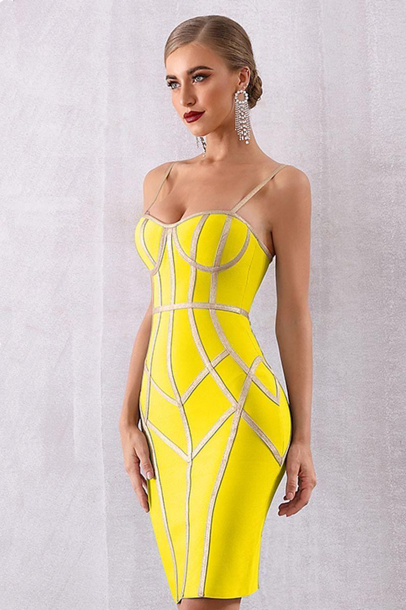 Yellow Patchwork Bandage Cocktail Dress
