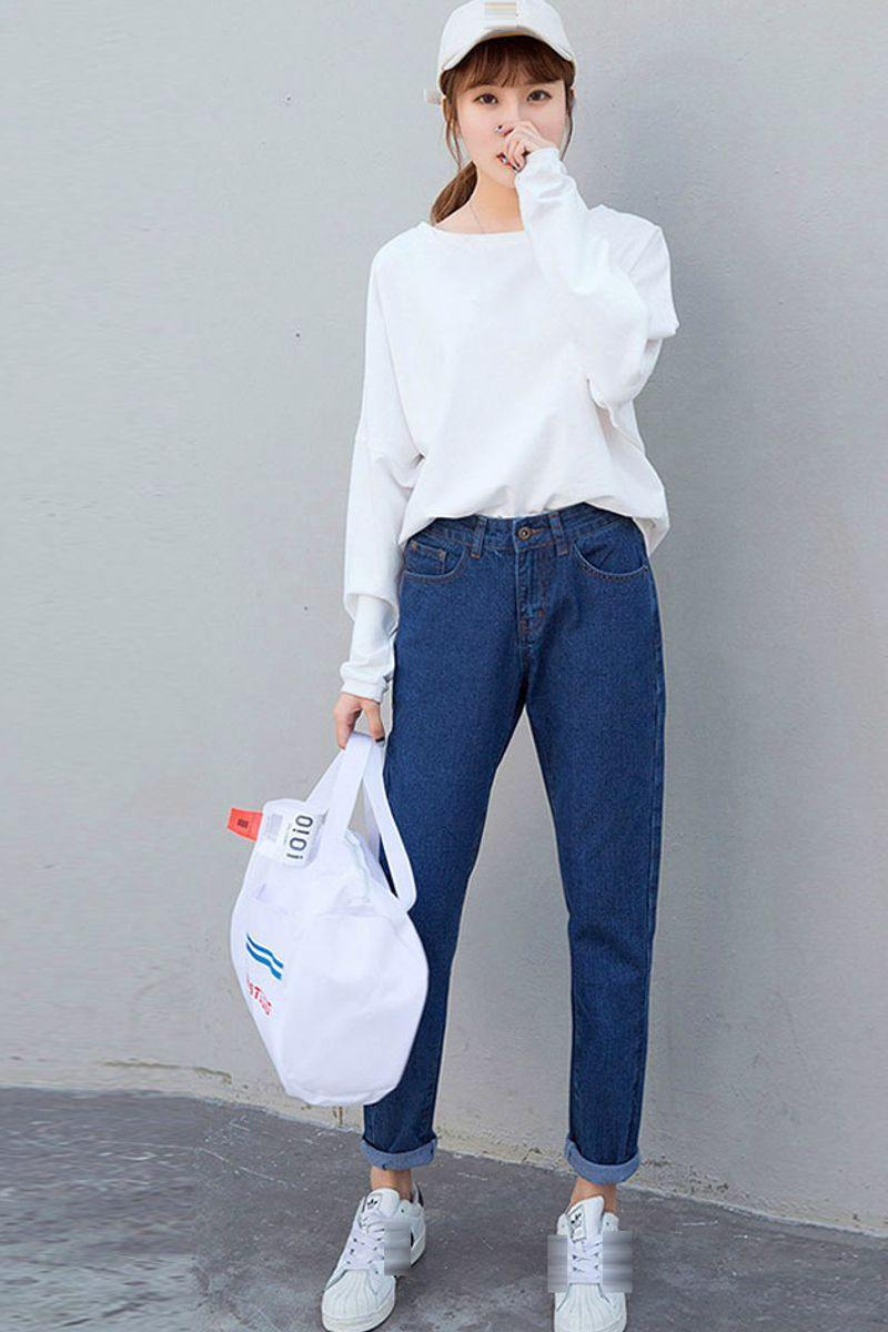 Dark Blue High Waisted Boyfriend Jeans
