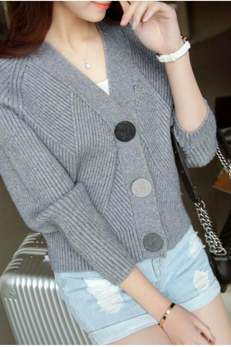 Knitted V- Neck Cardigan