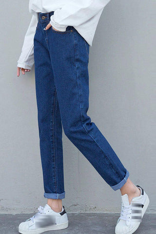 Basic High Waisted Vintage Style Mom Jeans