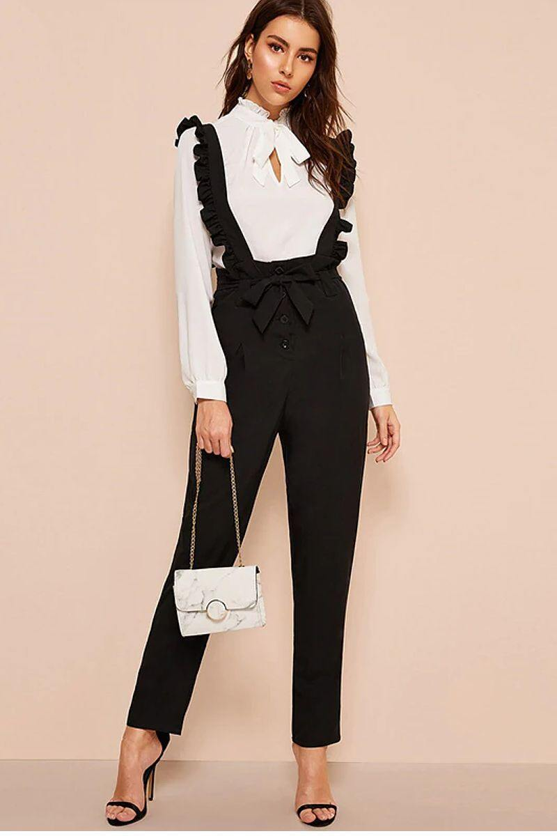 Preppy Style Suspender Pants