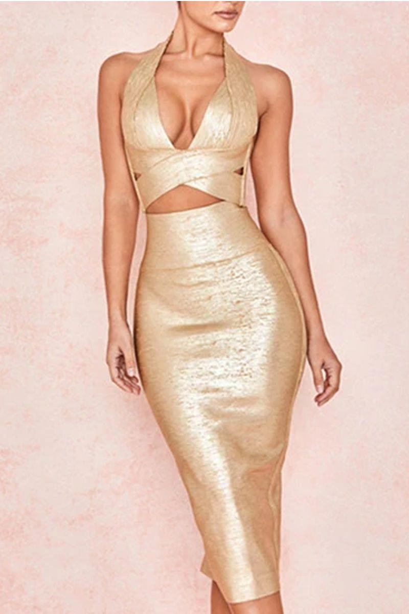 Bandage V-Neck Top + Skirt Set