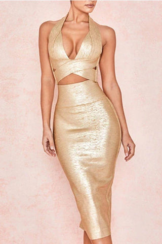 Halter Neck  Apricot Bodycon BCocktail Dress