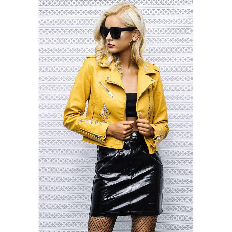 Edgy Rocker Chic Biker Jacket Faux Leather - Luv Fashion