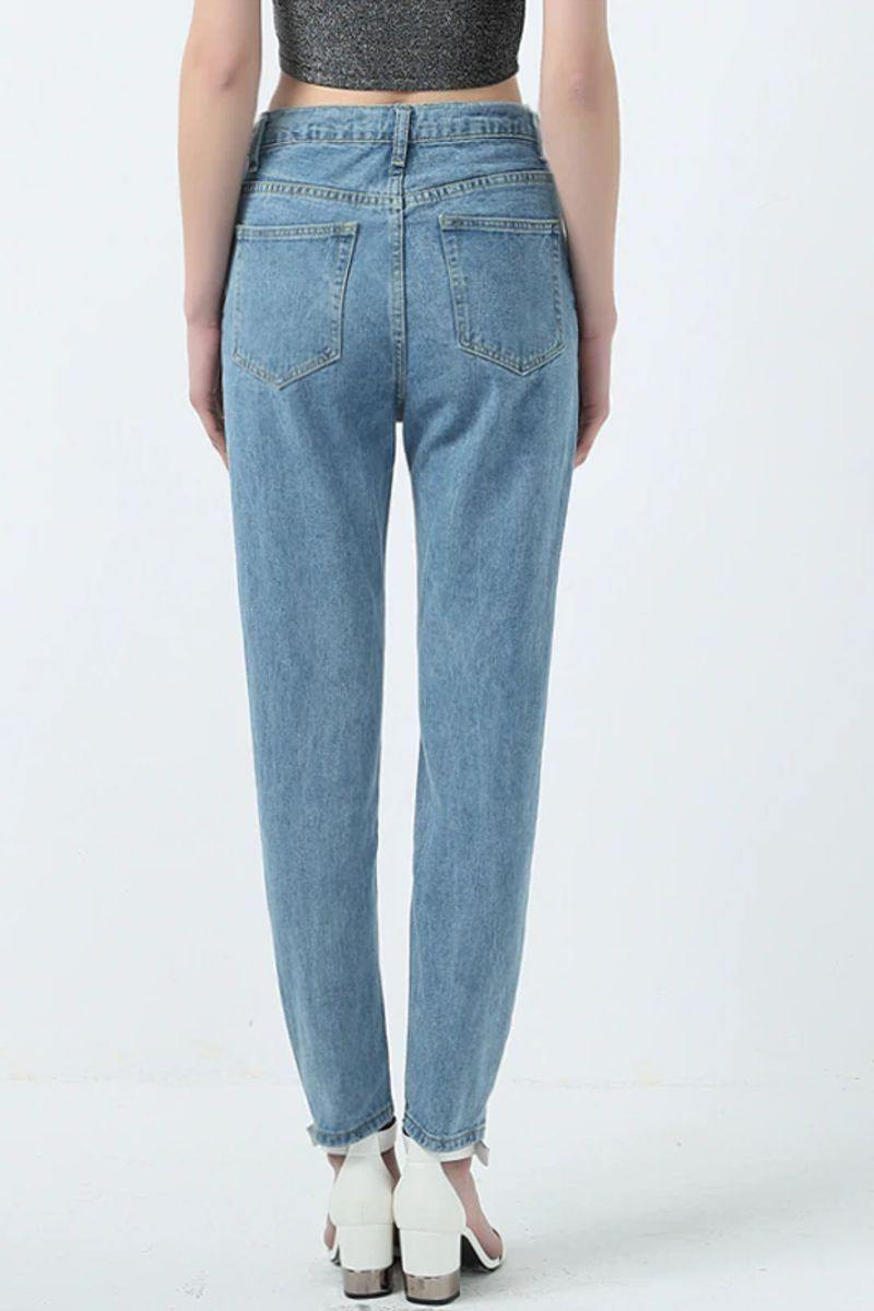 Womens High Waisted Mom Jeans Casual Vintage Blue Jeans - Luv Fashion