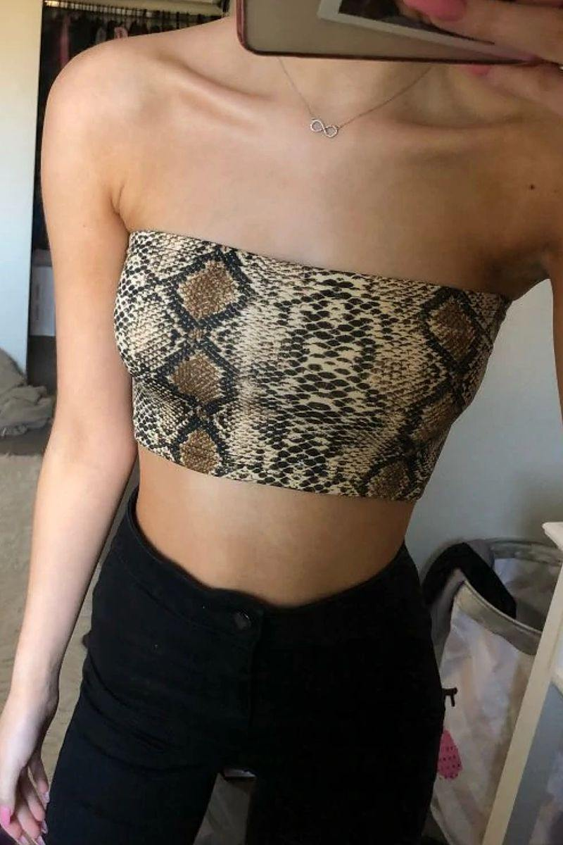 Tube Snake Skin Print Crop Top