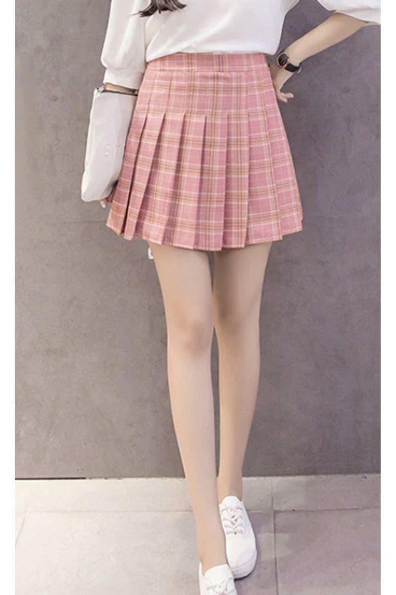Pleated Plaid Mini Skirt - pink