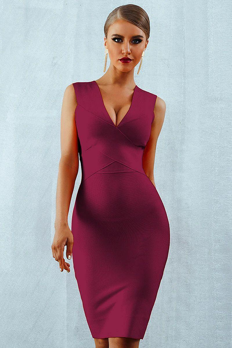 Sexy Deep V-Neck Bandage Tank Bodycon Dress - Wine Red