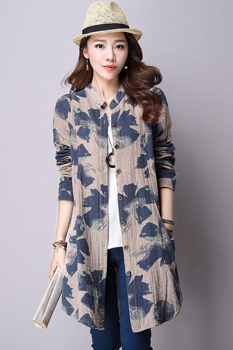 Floral Print Long Blouse with Pockets