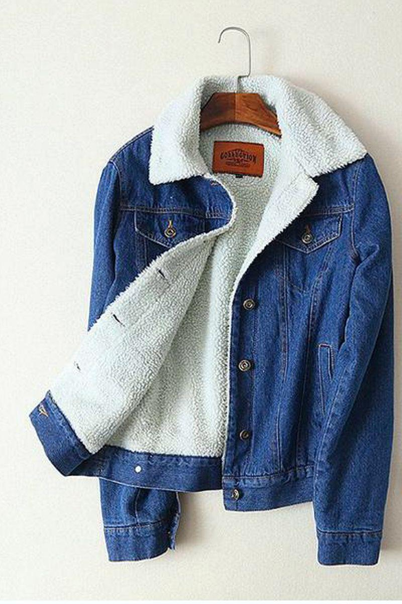 Women's Casual Lambswool Lined Denim Jacket