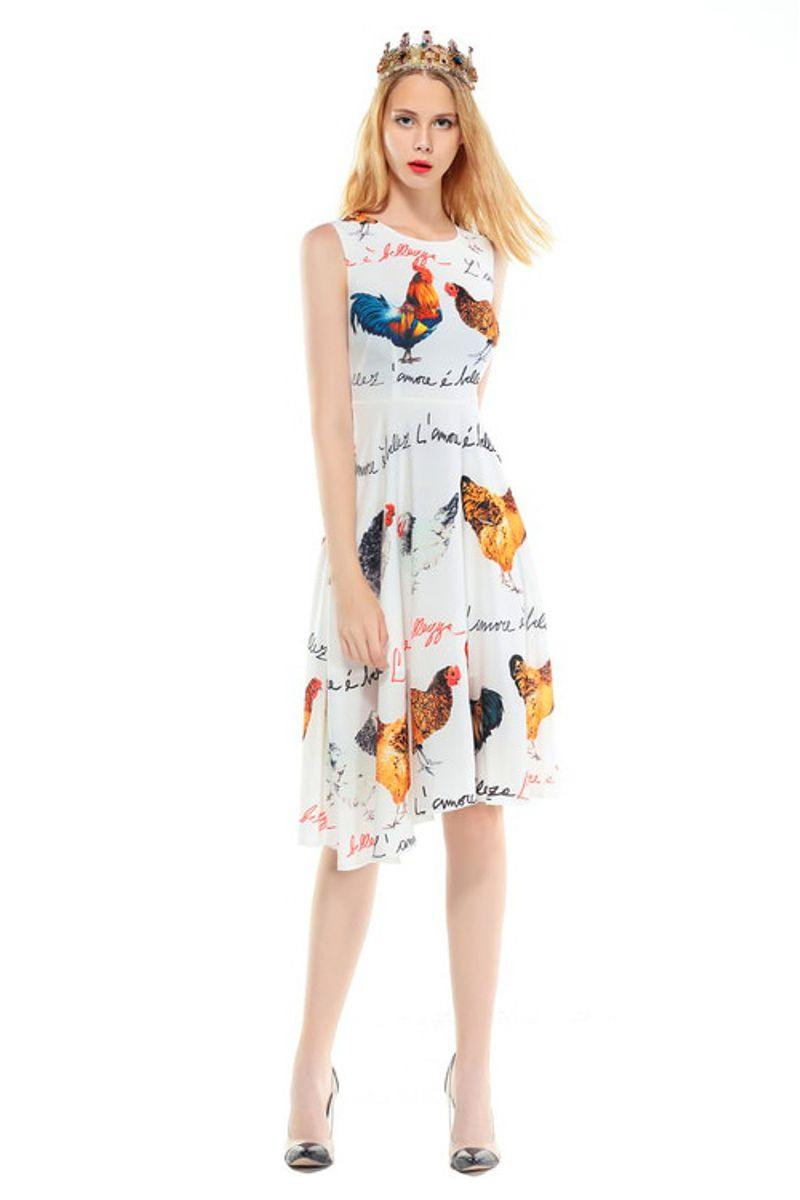 Elegant Detailed Chicken Print Mini Dress