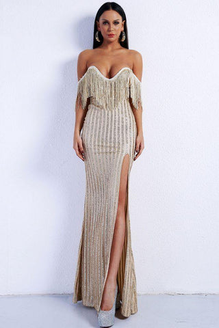 Elegant Off the Shoulder Tassel Club Party Dress