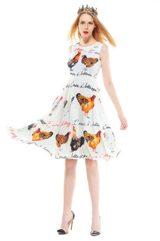 Red A-Line Silhouette Summer Dress
