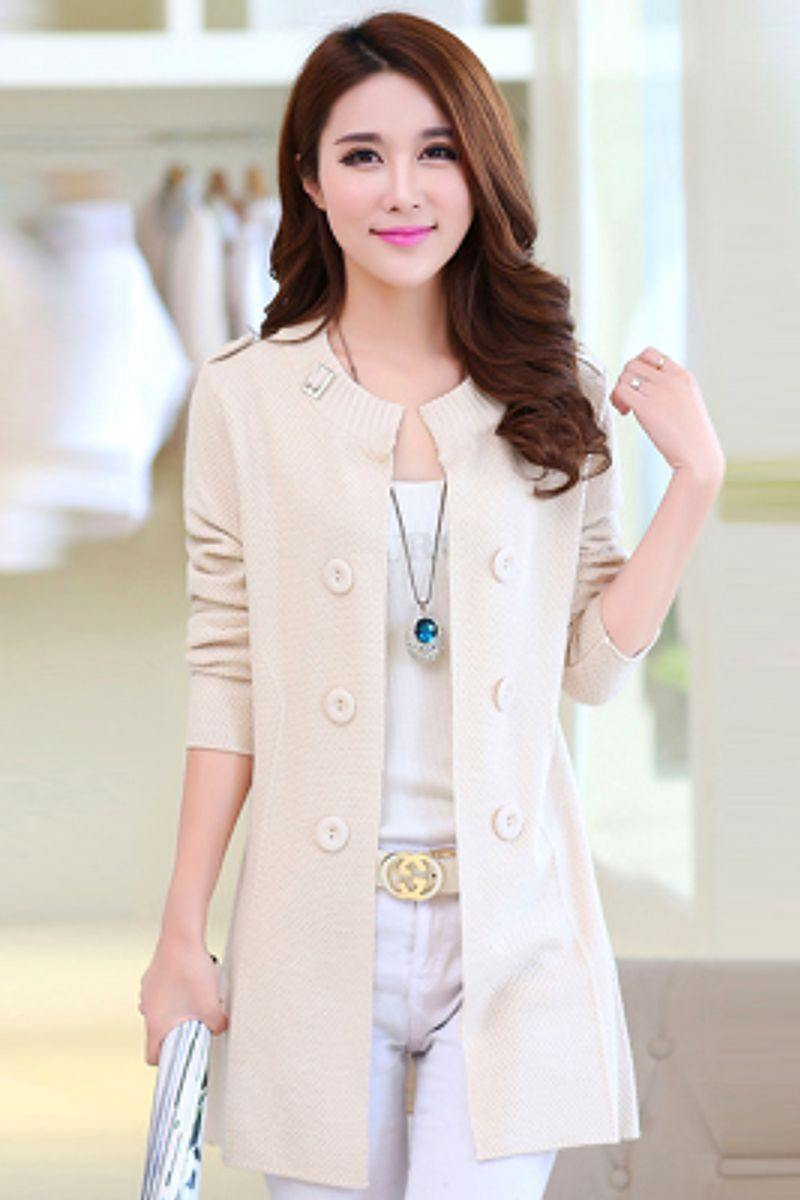 Casual Double Button Belted Cardigan - white