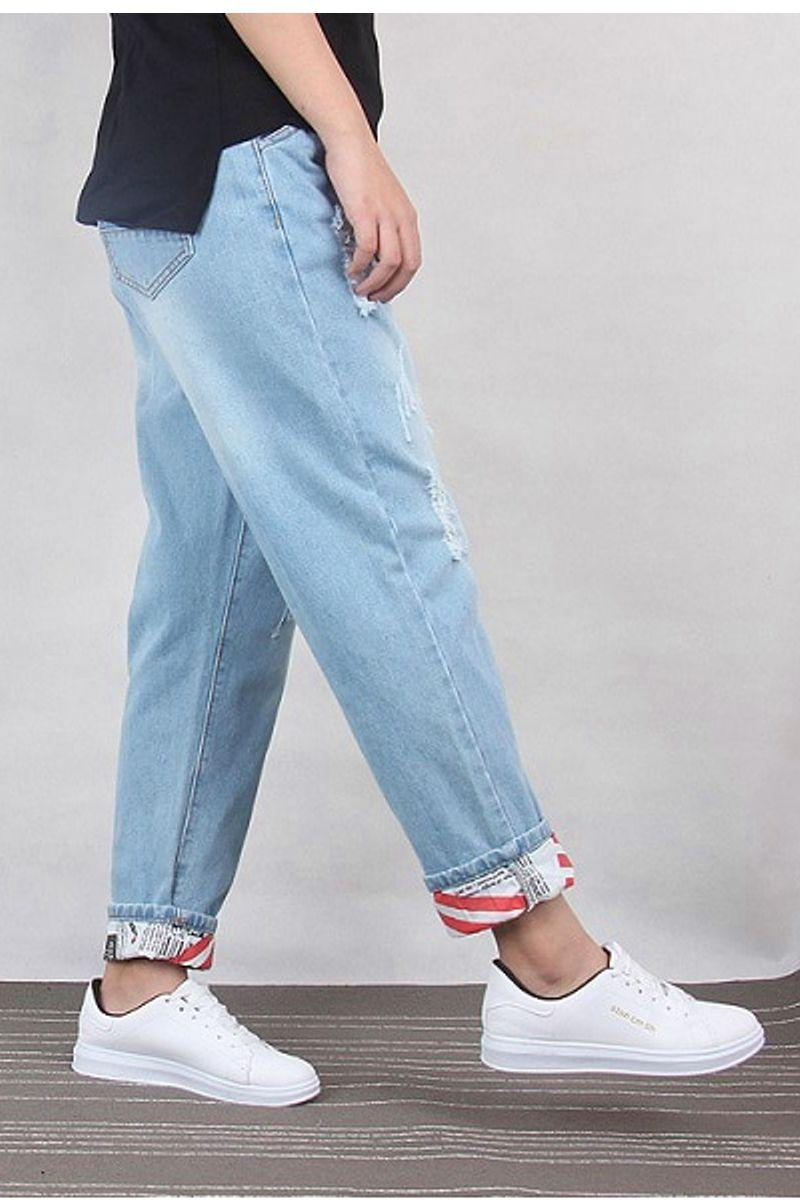 Ripped Jeans Ankle-Length Denim Jeans
