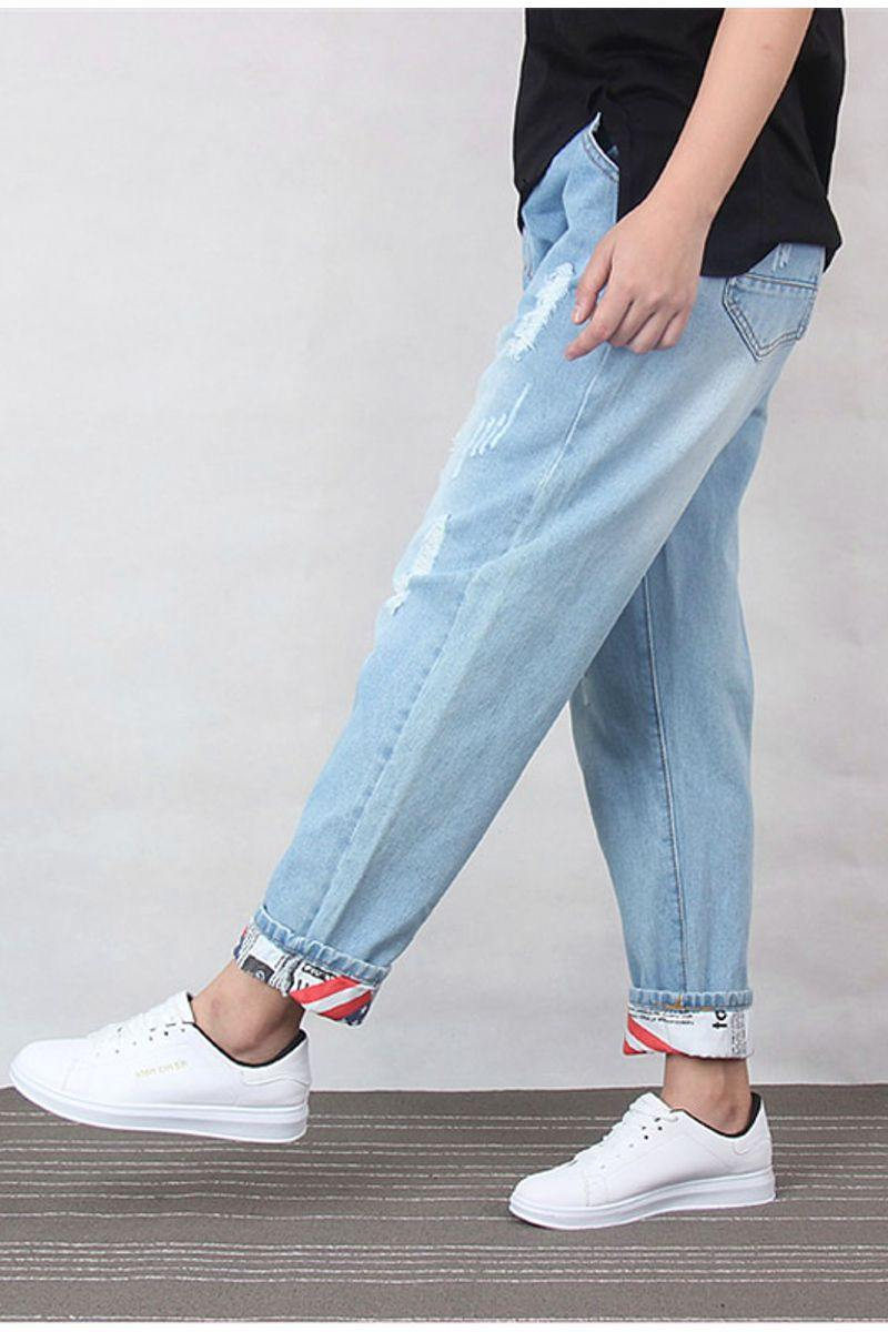 Ankle-Length Denim Ripped Jeans
