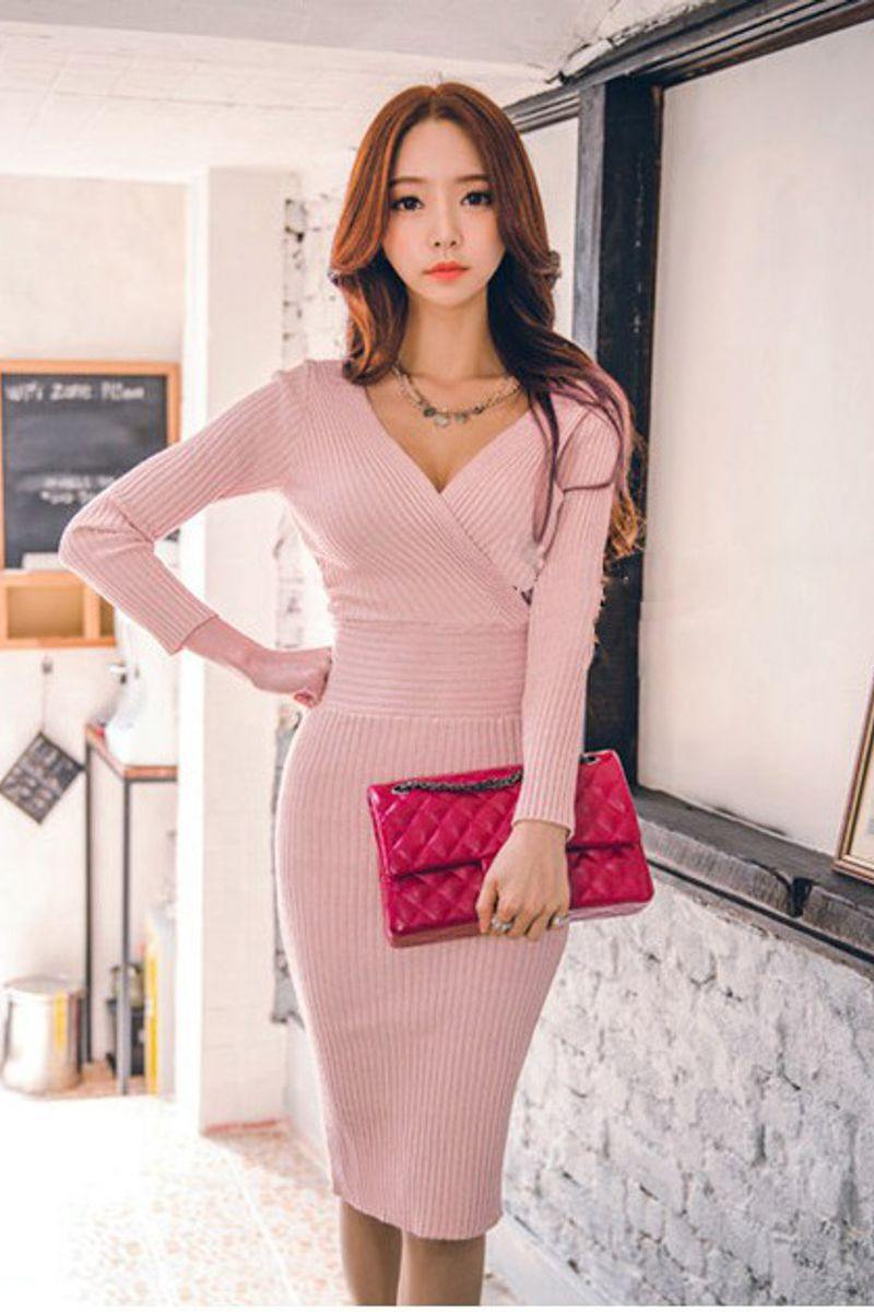 Long sleeve V-Neck Slim Pencil Mini Dress