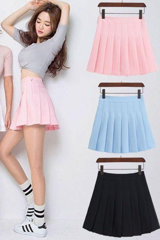 Short Pleated Skirt With Tights Tennis Skirt Style - Luv Fashion