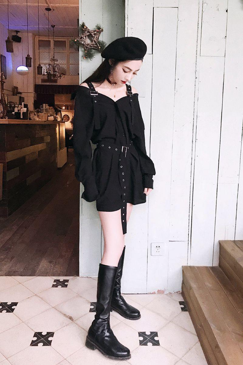 Black Suspender Punk Style Dress