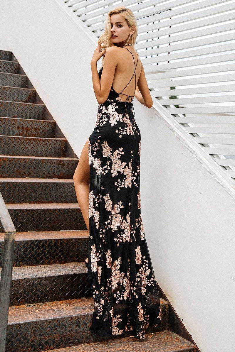 Lace Up Halter Sequin Party Dress Backless High Split Maxi Dress Style - Luv Fashion