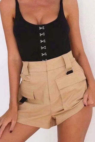 Stretch Side Zip High Waisted Shorts