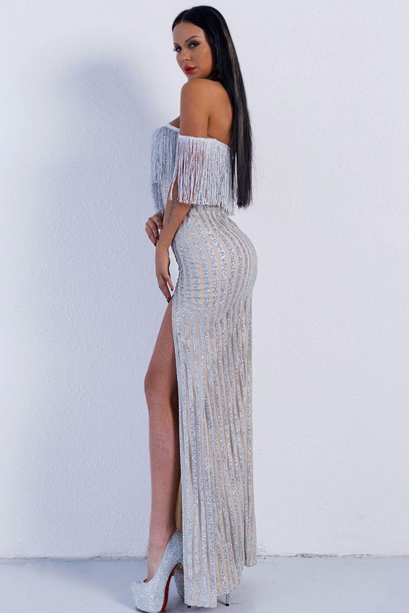 Tassel and Glitter Maxi Dress Off The Shoulder High Split Cocktail Dress - Luv Fashion