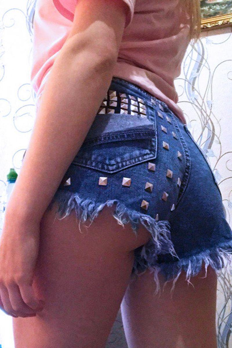 Vintage High Waisted  Ripped  Short - deep blue