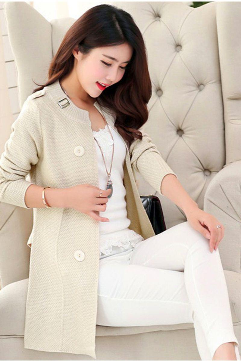 Double Button Belted Cardigan
